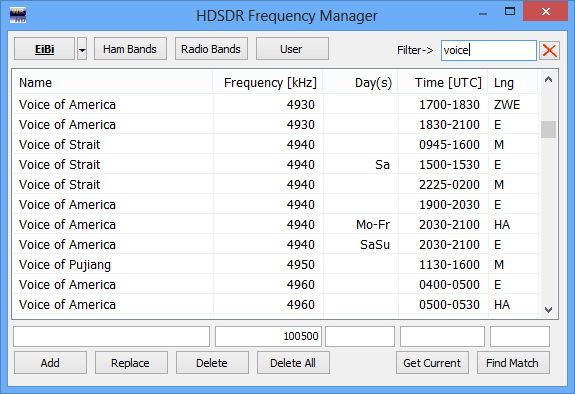 HDSDR Frequency Manger.