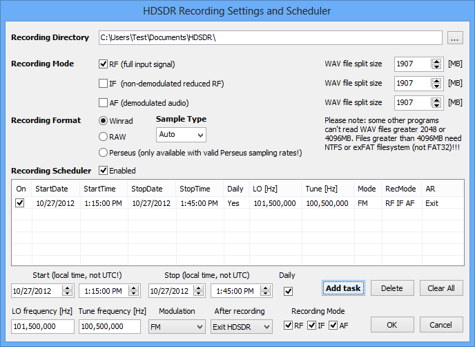 HDSDR Recording Scheduler.